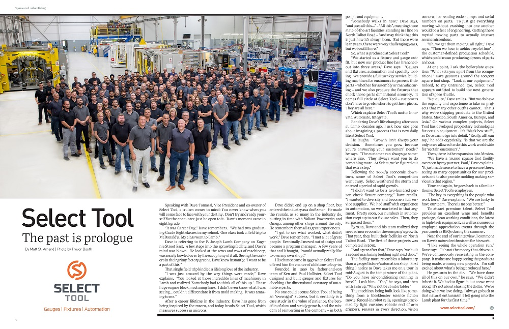 Select Tool article in October Issue of W.E. Manufacture Magazine